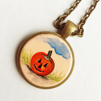 Pumpkin Pendant, Hand Painted Necklace, Jack O Lantern, Autumn Jewelry, Fall, Halloween Necklace, Orange Black, Cute and Creepy, Handmade