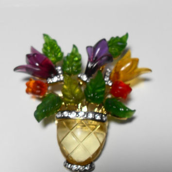 Rare lucite flower brooch, Joseph Cleary brooch, signed vintage jewelry, rhinestone brooch, gift for her, collectibles, Gingerslittlegems