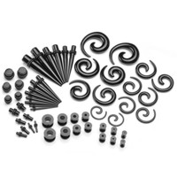 PiercingJ 56pcs 12G-00G Acrylic Tapers + Screw Tunnels + Plug with O Ring + Sprital Tapers Gauge Kit