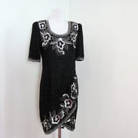 1980s Beaded Dress 80s Sequined Party Dress by BlytheHopesVintage