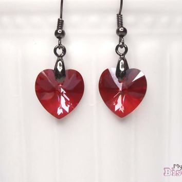 Genuine Swarovski Crystal Earrings - Red Magma Heart - Nickel and Lead Free - Gift Box