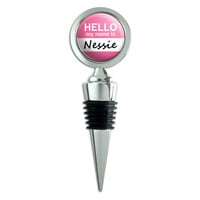 Nessie Hello My Name Is Wine Bottle Stopper