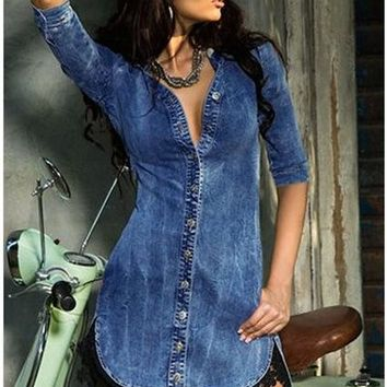European And American Sprint And Summer Fashion Gothic Punk Street Blue V-Neck Sexy Half Sleeve Lace Irregular Denim Dress