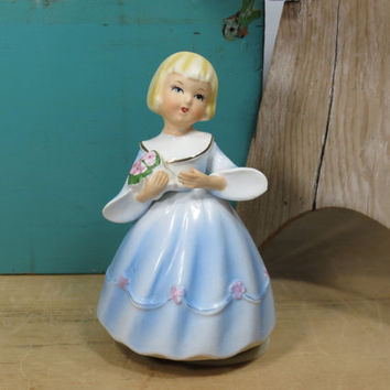 Schmid Music Box • Little Girl in a Blue Dress Holding Flowers • Oh What A Beautiful Morning • 1960s • Vintage Rotating Porcelain Music Box