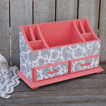 Organizer, Desk, Art, Cosmetic, Shabby Chic, Coral, Grey, White, Distressed, Hand Painted, Wood, Dorm, Studio, Desk Storage, Office Storage