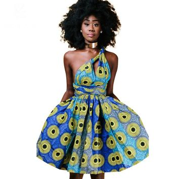 Summer autumn 2017 African dresses for women cotton wax printing ankara clothing sexy Multiple Wear method dress party dresses