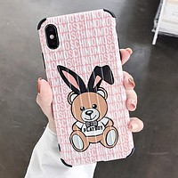 MOSCHINO Stylish Women Cute Bear Mobile Phone Cover Case For iphone 6 6s 6plus 6s-plus 7 7plus 8 8plus X XS Max XR Pink