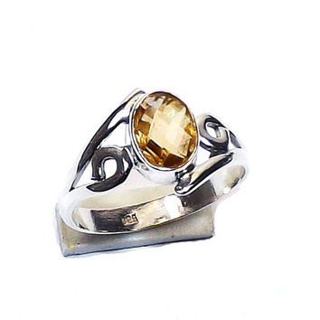 Natural Citrine Ring, Gemstone Ring, Silver Stone Ring- Silver Gemstone Ring, Sterling Silver Ring - Daily Wear Ring,Gift Ring, Gift For Her