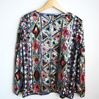 Deco Divine - Vintage 80s Sequin Glitter Geometric Print Party Jacket Top