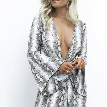 Try Harder Plunging Bell Sleeve Snakeskin Dress