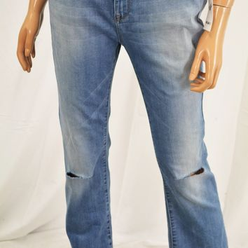 William Rast Young Women Blue Cropped Two-Tone  Flared Denim Jeans 28
