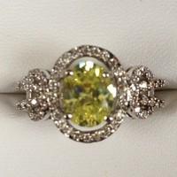 Yellow Green Gemstone Ring with Lacing from GemEnvy