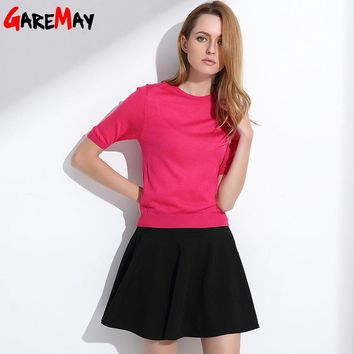 Women Summer Sun Skirts Tutu A-Line Pleated Fashion Slim Elastic Female White Short Waist Ladies Candy Flared