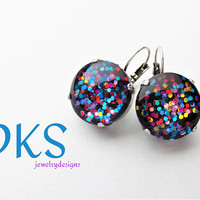 Rainbow Confetti Glitter, Mega, Lever Back Earrings, 18mm, Glass, Hand Painted,Sparkle, Shimmer,Large,DKSJewelrydesigns, FREE SHIPPING