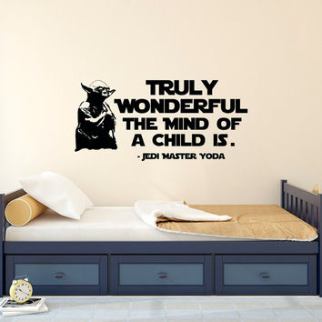 Wall Decal Quote Star Wars Truly Wonderful The Mind Of A Child Is Yoda Wall Decals Quotes Boys Teens Kids Room Nursery Art Home Decor Q264