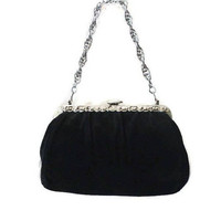 Black Suede Evening Bag with Silver Chain and Details, Gift For Her