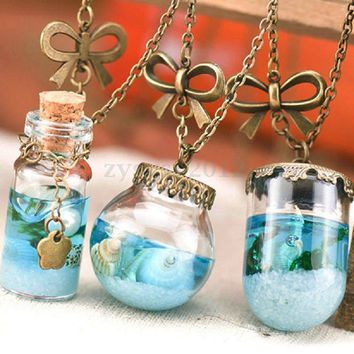 Ocean Sea Mermaid Tears Shells Star Vial Necklace
