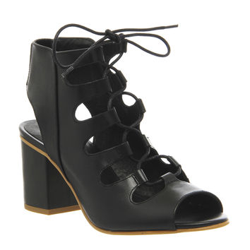 Office Waffle Block Heel Ghillie Black Leather - Mid Heels