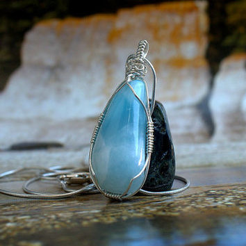 Larimar necklace genuine gemstone free form pendant with silver wire wrapping