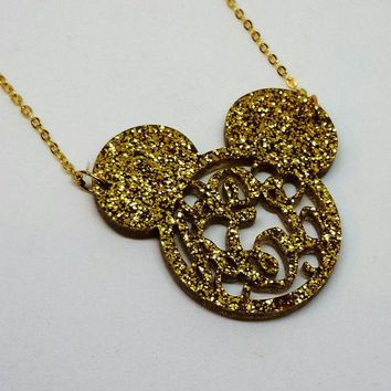 Mouse Ears Acrylic Script Monogram Necklace