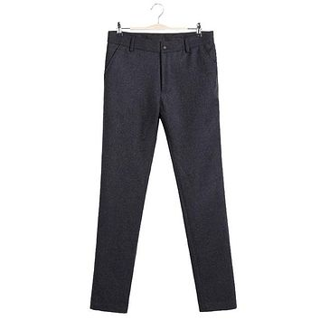 Autumn Winter Wool Pants Men Casual Straight Trousers Male Heavyweight Woolen Pant Clothing