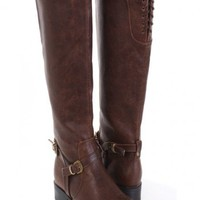 Brown Faux Leather Laced Buckle Strapped Riding Boots