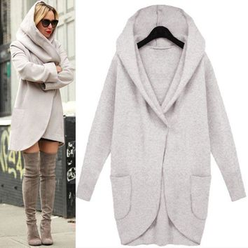 Women Winter Solid Medium Long Wool Blend Loose Pocket Single Breasted Warm Coat Outwear With Cap
