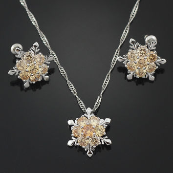 Citrine Snowflake Pendant Necklace & Earrings (LIMITED SUPPLY!)