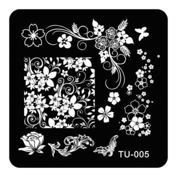 Nail Art Stamp Stamping Image Plate Polish Print Manicure Nail Design Stencil Tools Rose Butterfly TU-005