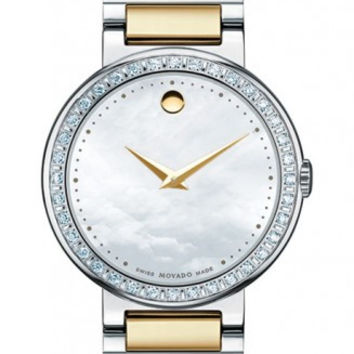 Movado Concerto Ladies Mother Of Pearl Museum Dial 30mm Stainless Steel Diamond Bezel Two Tone Watch 0606470