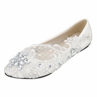 Lace Bridal Crystal Wedding Rhinestone Low Heel Flat Bridesmaid Prom Shoes