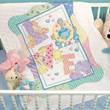 "Zoo Alphabet Dimensions/Baby Hugs Quilt Stamped Cross Stitch Kit 34""X43"""
