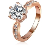LZESHINE Kate Princess Wedding Rings Rose Gold/Silver Plated Clear Zircon Women's Fashion Jewelry Ring