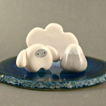 Blue Agate Slice Business Card Holder - Little Yeti And Mountain - Miniature Polymer Clay Animal