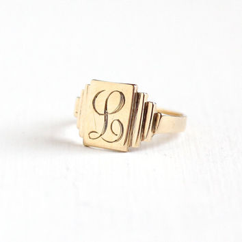 "Vintage Art Deco 10k Yellow Gold Letter ""L"" Signet Ring - 1930s 1940s Size 7.5 Initial Monogrammed Personalized Linear Fine Jewelry"