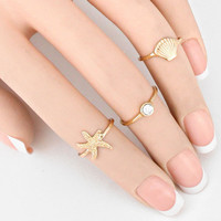 3-PCS Starfish & Shell Midi Ring Set
