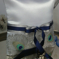 Hand pinted Satin white ring bearer pillow Silver peacock feathers personalized wedding favor