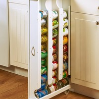 Kitchen Storage Rack Slim Tall Canned Goods Jars Rolling Pantry Wooden
