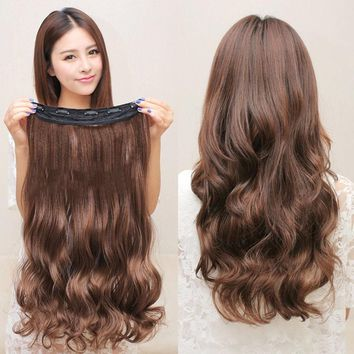 5 Clips Hair Extensions Curly Brown Black Synthetic Hair Extension Hair Wigs 60cm