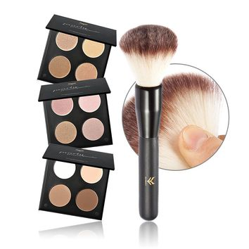 4 color Professional Corrector Face Brighten Highlighter Palette Bronzer Highlighter + Foundation brush border makeup set