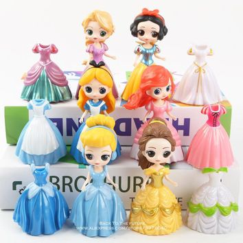 Disney Princess Snow White Little Mermaid Ariel Alice belle change clothes 9cm 12pcs/set Action Figure Anime Figurine Toy model