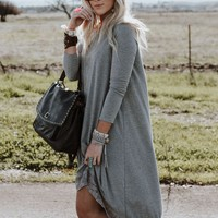 Lace Trimmed Long Sleeve Tunic Dress - Gray