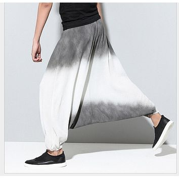 HOT 2016 Men's casual loose pants men tide culottes cross thin pants harem pants wide legs pants singer stage costumes