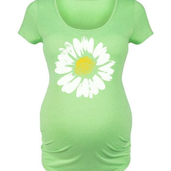 Belly Love Lime Daisy Maternity Scoop Neck Tee