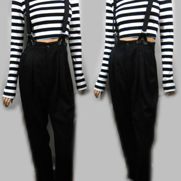 Vtg 90s Black Simple Normcore Indie Minimalist Lagenlook Flax Chic Tomboy Grunge Overalls Suspender Dress Jumper Jumpsuit Pantsuit Trousers