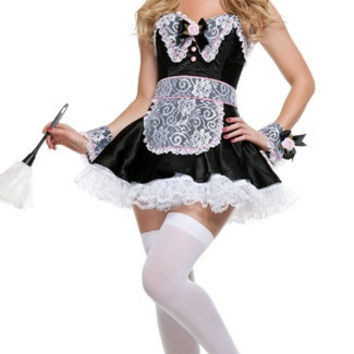 Black with White Floral Lace Ruffled French Maid Costume