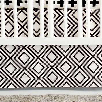 Black Swiss Cross Baby Bedding | Black and White Crib Skirt