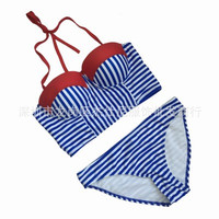 Women Stripes Printed Sexy Two-Piece Erotic Bikini Swim Suit Beach Bathing Suits Swimwear _ 12813