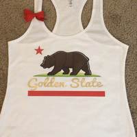 California - Golden State Tank - Racerback Tank -  Terry Tank - Fitness Tank - Gym Tank - Workout Tank - Workout Clothes
