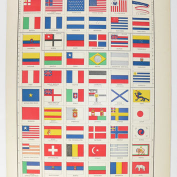 Antique Flag Print, 1899 Vintage Color Print of Flags, Red White and Blue Wall Art, Primary Colors Print, Man Cave Decor, Unique Guy Gift